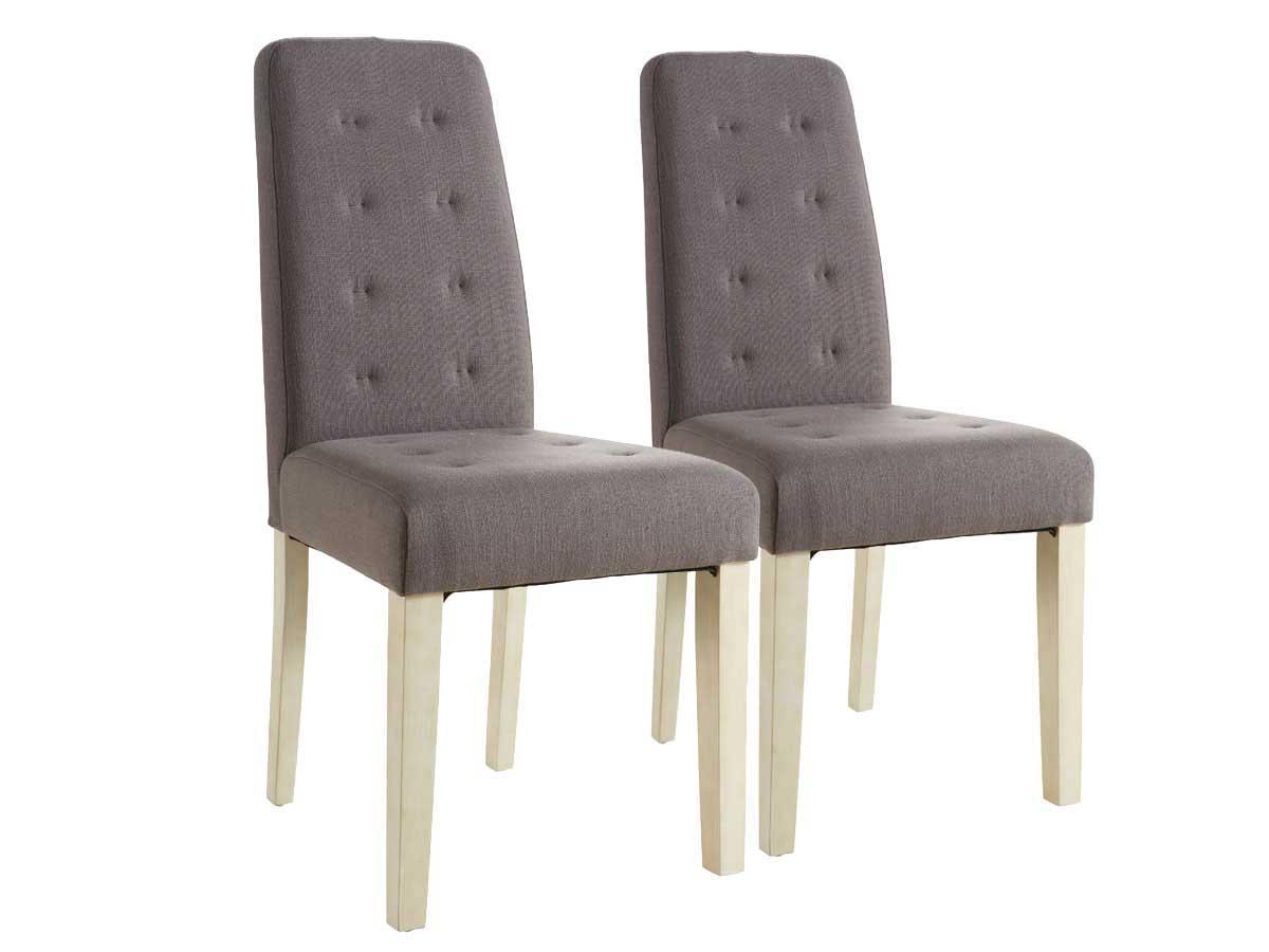 """lot de 2 chaises """"alvis"""" - taupe 68741"""