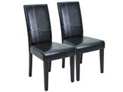"Lot de 2 chaises ""Guevara"" - Noir brillant"