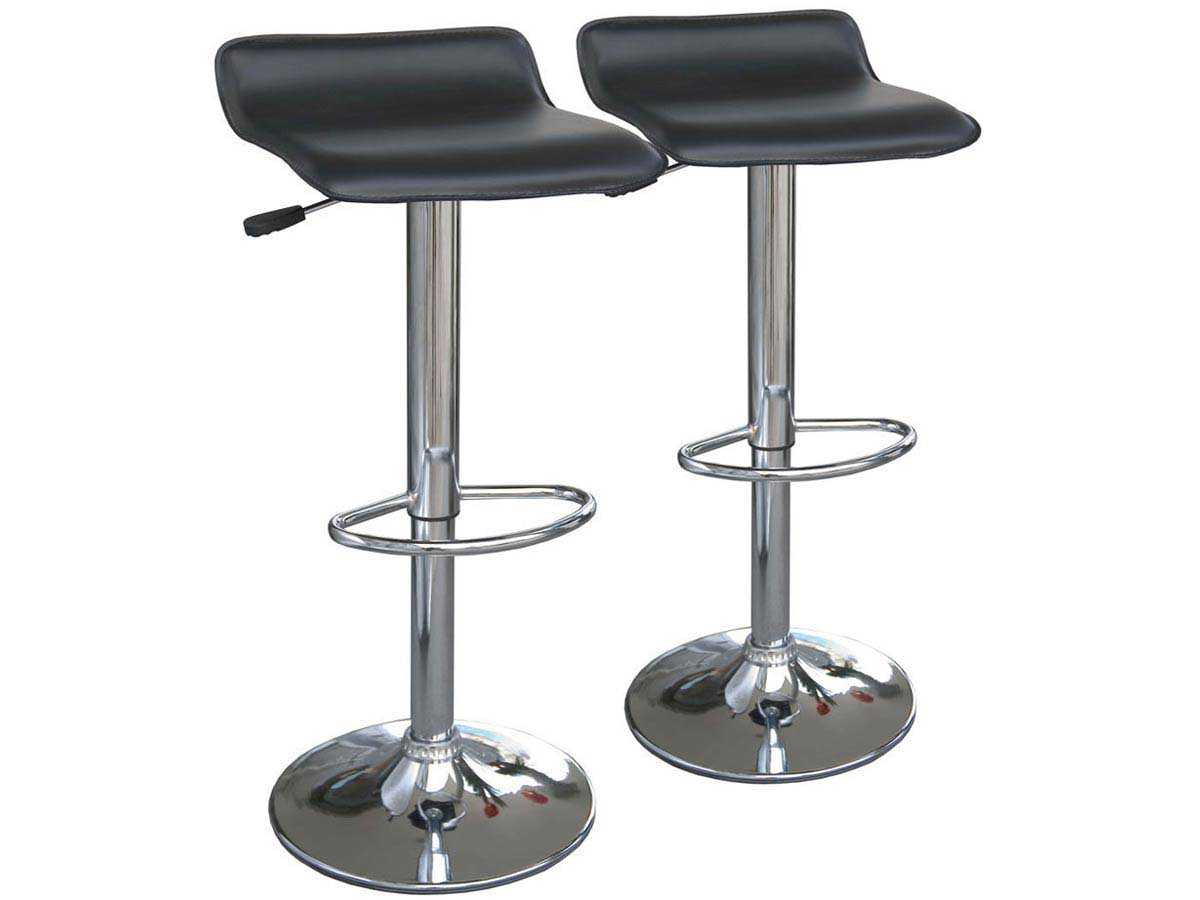 Lot de 2 tabourets de bar dan noir 68669 for Chaise et tabouret