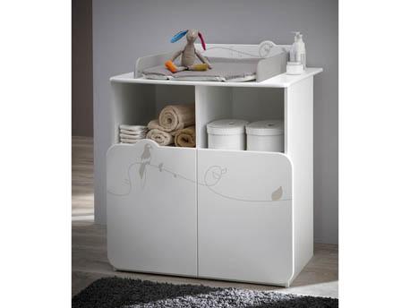 """Commode - Table à langer """"Jungle"""" - 87 x 73 x 101 cm - Blanc"""