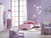 """Lit """"Papillon"""" - 202 x 110 x 67 cm - Rose orchidée/blanc perle"""