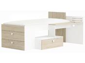 "Lit ""Move""- 204,3 x 96,0 x 138,8 cm - Chêne brosse/Blanc perle"