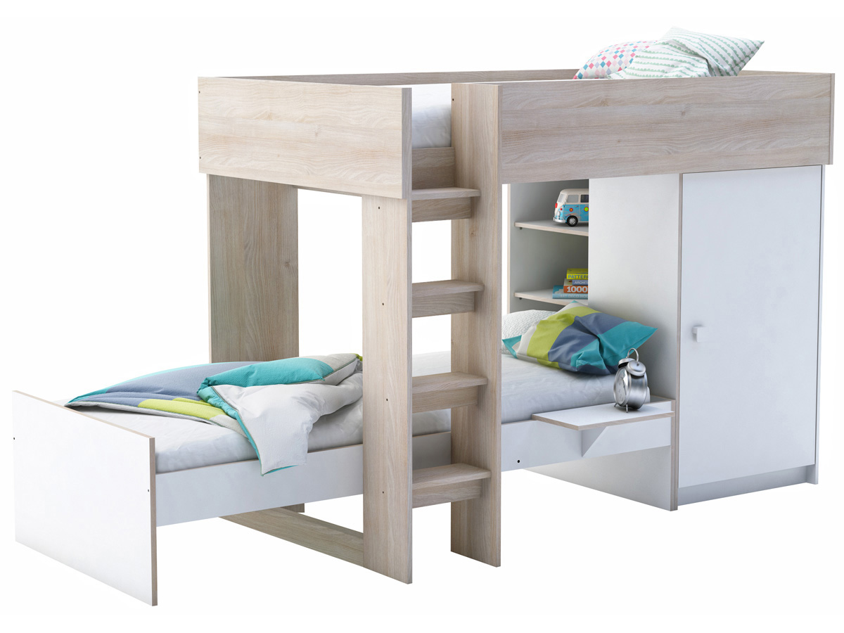 lit sur lev 90 x 200 cm lit 90 x 200 rangement treno blanc acacia 92099. Black Bedroom Furniture Sets. Home Design Ideas
