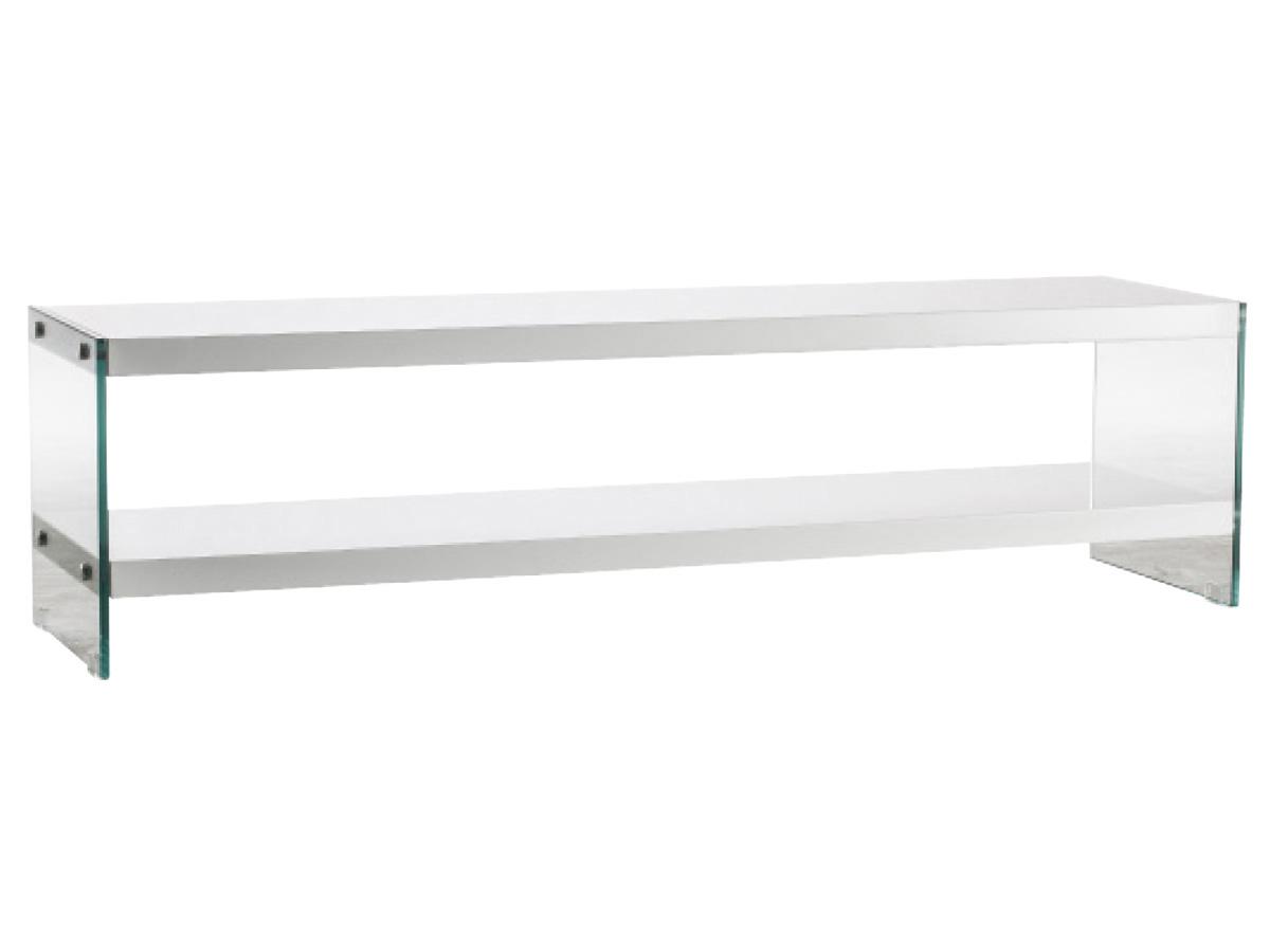 Meuble Tv Ecran 150 X 40 X 40 Cm Blanc 80768 # Meuble Tv En Verre Avec Roulettes