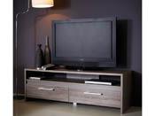 "Meuble TV ""Steen"" - 138 x 42 x 45 cm - Chêne foncé/Basalte"