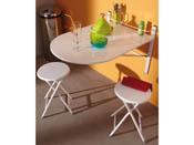 "Table murale + 2 tabourets ""Sinai"" - Blanc"