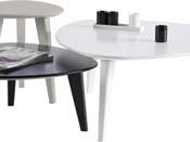 """Lot de 3 tables basses """"Stone"""" - 80 x 80 x 35 cm - Blanc/Noir/Gris"""