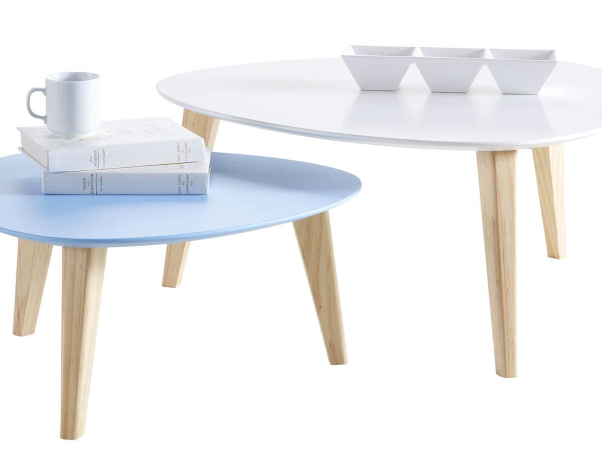 lot de 2 tables basses stone blanc bleu 68736. Black Bedroom Furniture Sets. Home Design Ideas