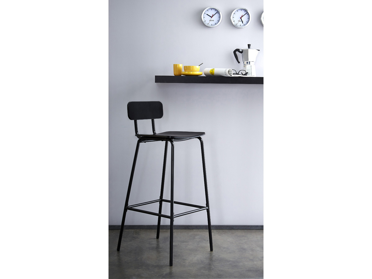 tabouret de bar mika noir 80494. Black Bedroom Furniture Sets. Home Design Ideas