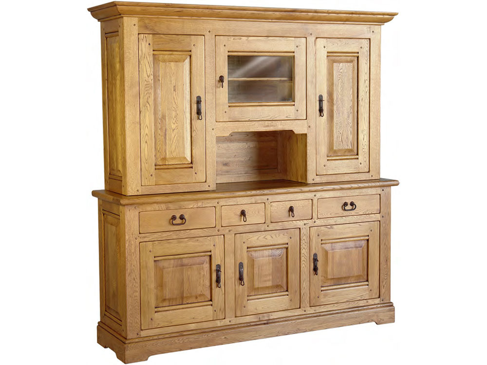 buffet haut en enfilade en ch ne massif maeva 3 portes 50886. Black Bedroom Furniture Sets. Home Design Ideas