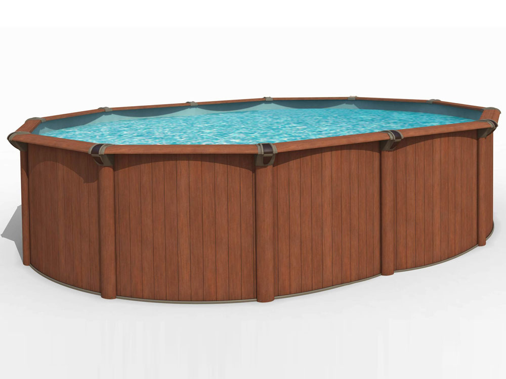 piscine acier aspect bois bengalia en kit ovale 4 88 x 3 21 x 1 25 m 39068. Black Bedroom Furniture Sets. Home Design Ideas