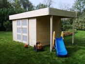 """Abri jardin bois """"Larvik"""" - 13.49 m² - 4.74 x 2.84 x 2.04 m - 28 mm"""