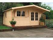 """Abri jardin bois """"Chamonix"""" - 27.52 m² - 5.33 x 5.16 x 2.53 m - 40 mm"""