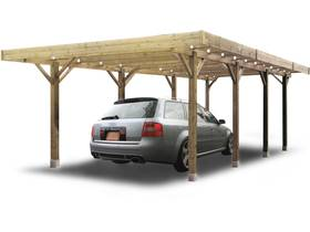 "Carport voiture bois ""Carport Modular"" - 19.96 m² - 6064 x 5064 x 2730 mm"