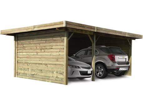 Carport voiture bois - 16.93 m² - 5.06 x 7.06 x 2.72 m