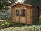 """Abri jardin bois traité """"Monda"""" - 6.15 m² - 2.48 x 2.48 m - 19 mm"""