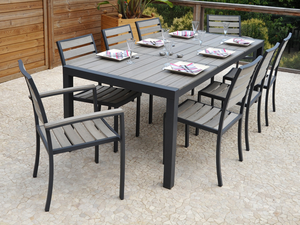 Salon de jardin en aluminium newport table 6 chaises - Table salon de jardin alu et composite ...