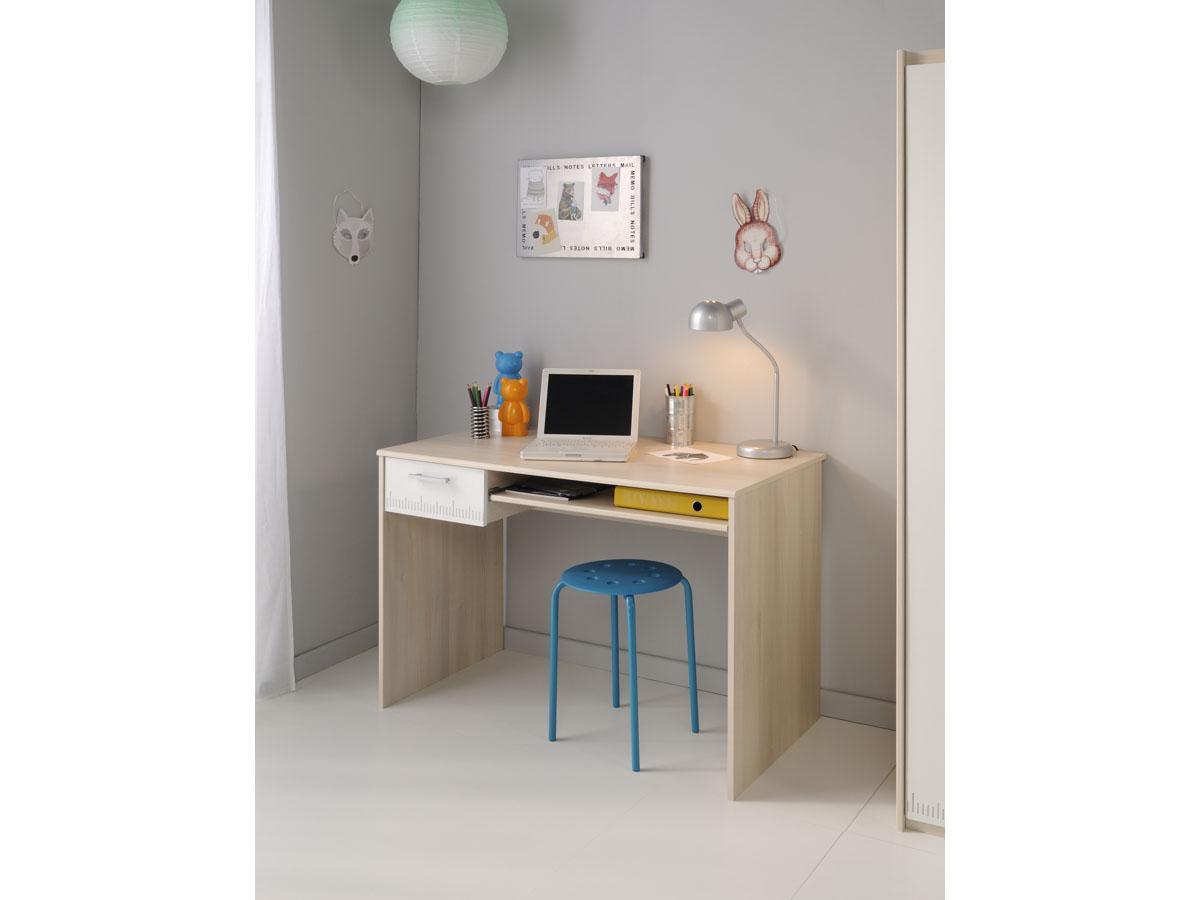 Lit avec bureau belle lit biné enfant en bois blanc et acacia