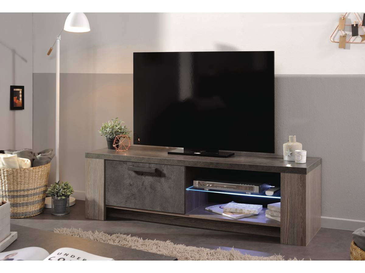 meuble tv en mdf gossip 2 niches 97043. Black Bedroom Furniture Sets. Home Design Ideas