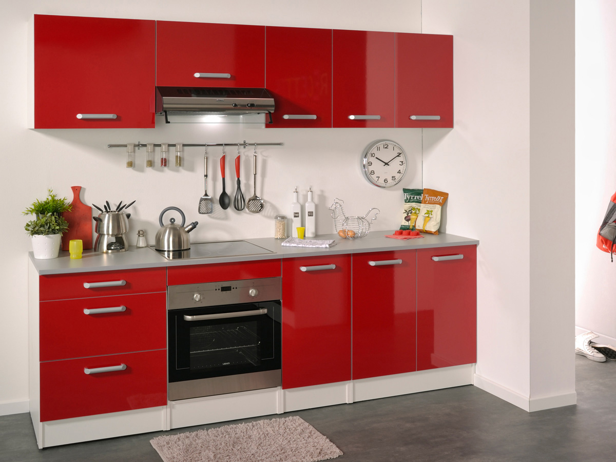 Ensemble cuisine shiny 2 4 m rouge brillant 78743 for Cuisine 4m de long