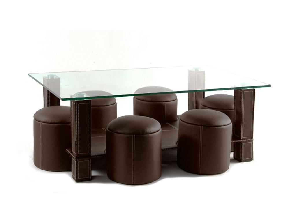 Table Basse Rectangulaire 6 Poufs Frida Tube Recouvert Pvc Verre Trempe Marron 36640