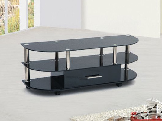meuble tv rectangulaire arrondi lcd3 mdf et verre tremp laqu noir 52772. Black Bedroom Furniture Sets. Home Design Ideas