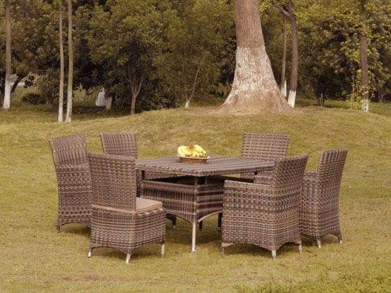 Salon jardin - table carre vitré avec 4 chaises et 2 fauteuils 36939