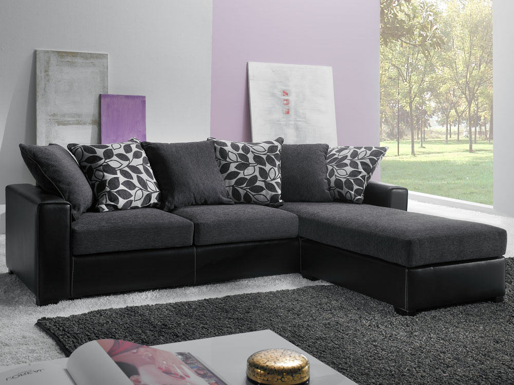 canap d 39 angle tissu 4 places kelly gris 38685 38686. Black Bedroom Furniture Sets. Home Design Ideas