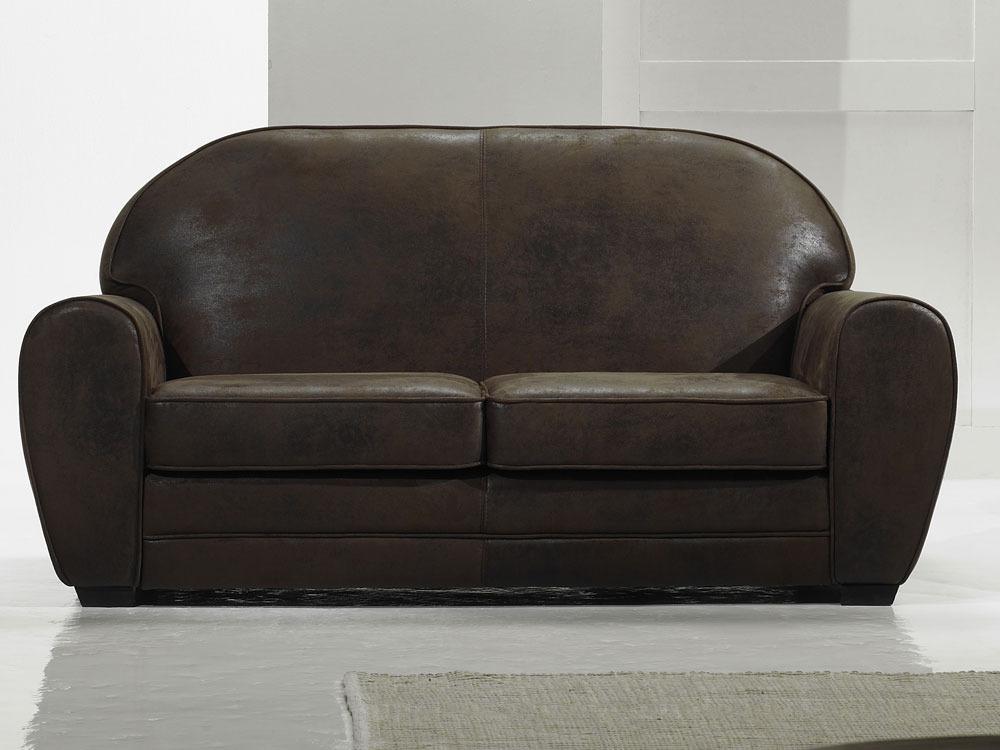 canap vintage 2 places alaska marron 38690 38691. Black Bedroom Furniture Sets. Home Design Ideas