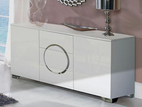 "Buffet ""Louise"" - 160 x 50 x 78 cm - Blanc laqué"