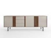 """Buffet """"Moritz"""" 195 cm - Coloris sable/noyer - Pieds métal"""