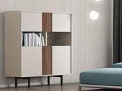 """Cabinet """"Moritz"""" - 100 x 42 x 129 cm - Coloris sable/noyer - Pieds métal"""