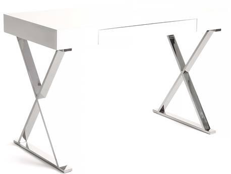 """Bureau """"Jenny"""" - 120 x 55 x 76 cm - 1 tiroir - Blanc laqué"""