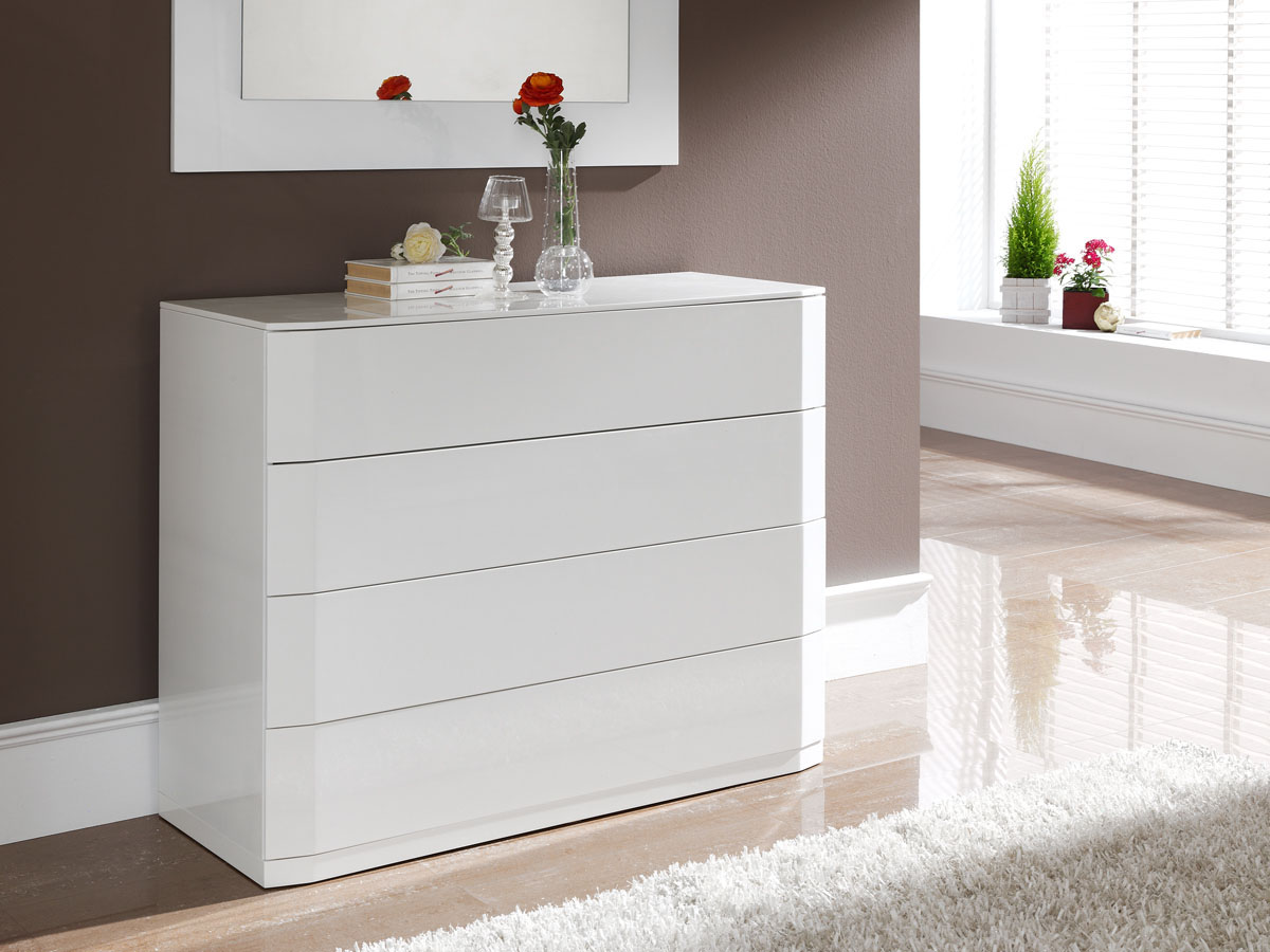 commode delta 110 x 42 x 85 cm 4 tiroirs coloris blanc 83580. Black Bedroom Furniture Sets. Home Design Ideas