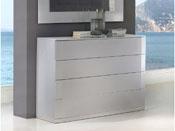 """Commode """"Delta"""" - 110 x 42 x 85 cm - 4 tiroirs - Coloris argent"""