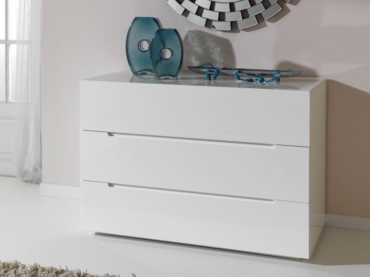 commode catherine 120 x 50 x 75 cm 3 tiroirs coloris blanc 83589. Black Bedroom Furniture Sets. Home Design Ideas