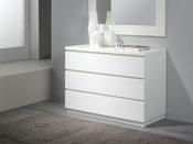 "Commode ""Opale"" - 106 x 45 x 77 cm - 3 tiroirs - Coloris blanc"