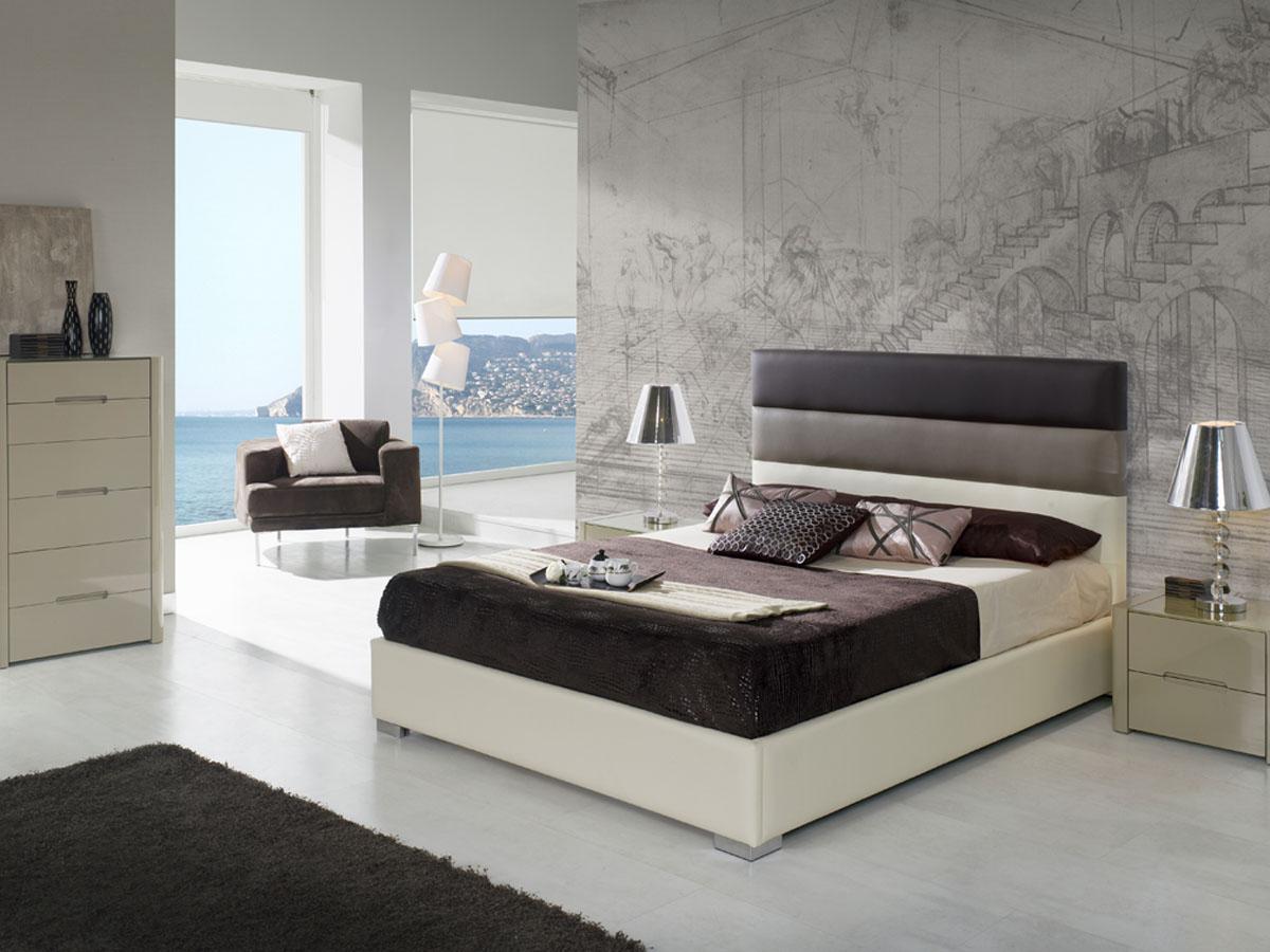 Lit Coffre Désiré 160 X 200 Cm Blanc Marron 85622 85628