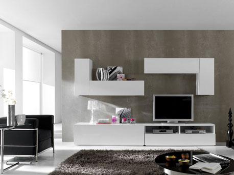 """Ensemble 6 meubles TV modulables """"Berlin"""" - Blanc laqué"""