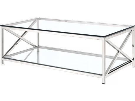 """Table basse """"Camélia"""" en verre - 120 x 60 x 40 cm - 2 plateaux en verre"""