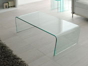 "Table basse verre ""Claire"" - 120 x 60 x 35 cm - Transparent"