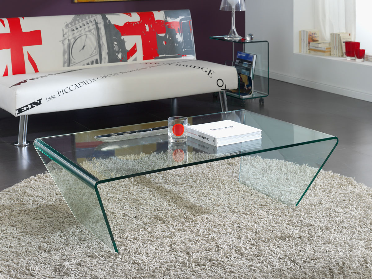 Table Basse Verre Delhi 120 X 70 X 35 Cm Transparent 83698 # Table Basse Transparente