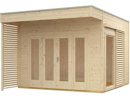 """Chalet de jardin bois """"Tokio 2 Plus"""" - 11,56 m² - 340 x 340 cm - 19 mm - Non traité + Isolation incluse"""