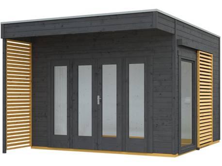 """Chalet de jardin bois """"Tokio 2 Plus"""" - 11,56 m² - 340 x 340 cm - 19 mm - Gris ardoise + Isolation incluse"""