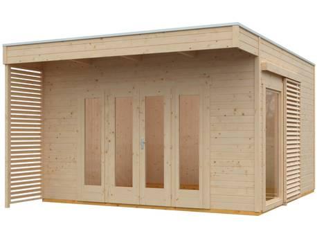 """Chalet de jardin bois """"Tokio 4 Plus""""- 16,16 m² - 402 x 402 cm - 19 mm - Non traité + Isolation incluse"""