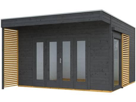"""Chalet de jardin bois """"Tokio 4 Plus""""- 16,16 m² - 402 x 402 cm - 19 mm - Gris ardoise + Isolation incluse"""