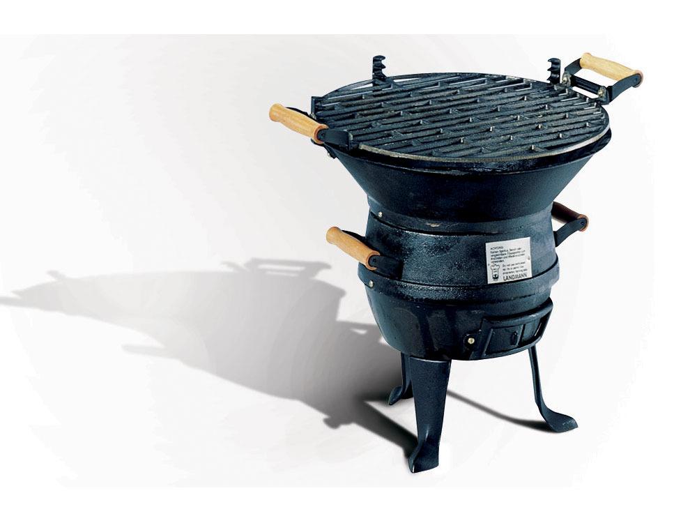 Barbecue fonte acier noir à l\'ancienne rond 39237