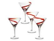 """Verres à cocktail """"Spirale"""" rouge - Lot de 4"""
