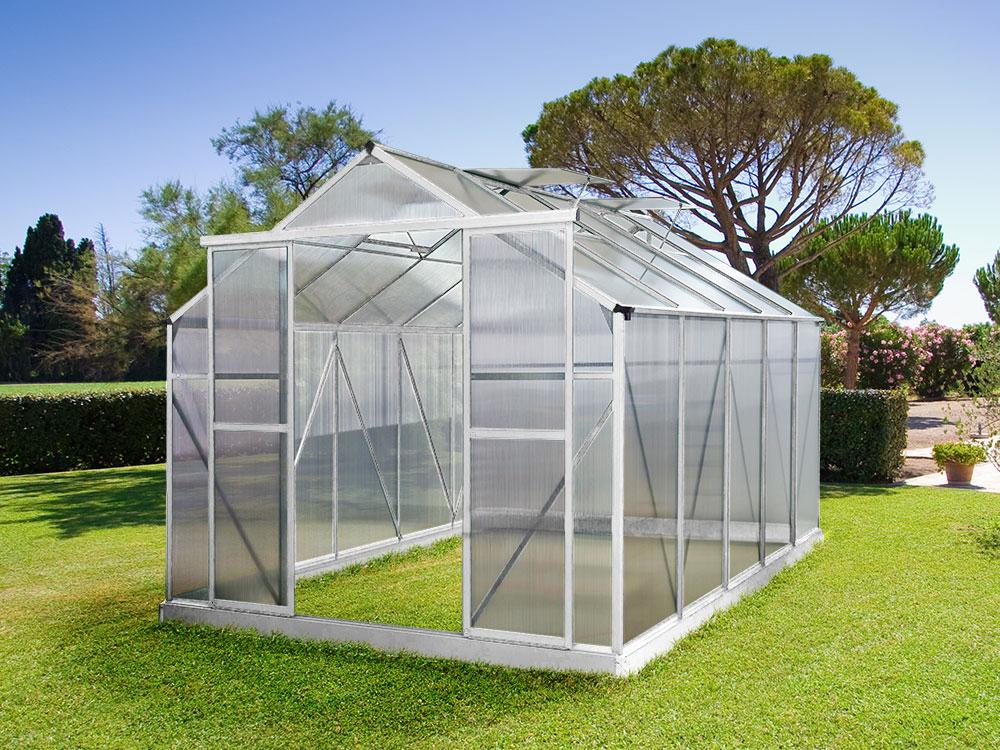 serre jardin polycarbonate dahlia coloris aluminium 9 m2 52393 64241. Black Bedroom Furniture Sets. Home Design Ideas