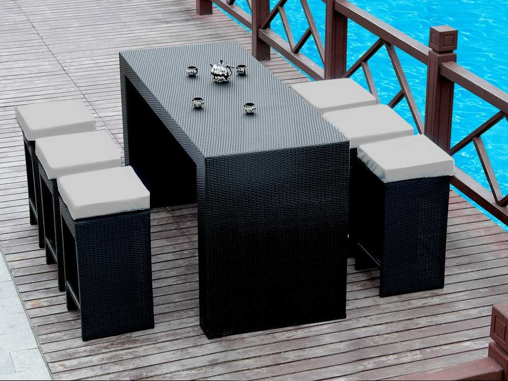salon jardin st barth table haute 6 tabourets 51877. Black Bedroom Furniture Sets. Home Design Ideas